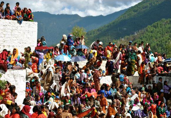 Spectators at the Thimphu Tsechu