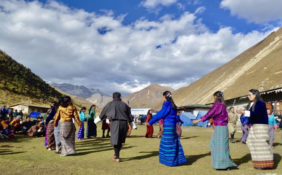 Dancing at the Jhomolhari Mountain Festival